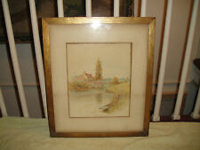 Antique Pastel Pencil Drawing Or Print Of Fisherman In Village Stream-Signed EH