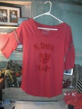 WE THE FREE PEOPLE XS oversized fit L red Football tunic Top Shirt knit 1/2 slv