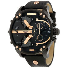 Diesel Mr. Daddy 2.0 Chronograph Black Dial Black Leather Mens Watch DZ7350