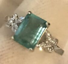 ESTATE 1.76CT  NATURAL EMERALD AND REAL DIAMONDS RING IN 14K WHITE GOLD