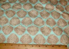 """34"""" Decorator fabric Brown Off White Leaves Aqua Turquoise Upholstery Wholesale"""