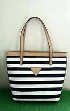 NWT GUESS Signature Zoom Striped Tote Bag Black & White