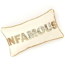 NEW! Juicy Couture Bedding Throw Pillow - Cream Gold sequin INFAMOUS Trim 10x18