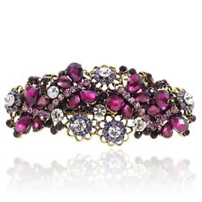 Purple Rhinestone Crystal Flowers Barrette Gold Tone Hair Clip Party Gift