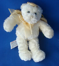 "Gund Heavenly Angel Bear gold wings white faux fur 5½"" tall Christmas ornament"