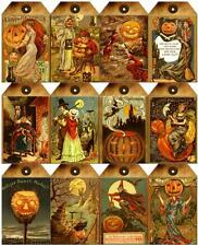 12 HALLOWEEN - WITCH PUMPKIN VINTAGE 155 LB PAPER CRAFT CARD SCRAPBOOK TAG L