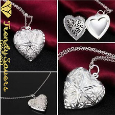 Lovely Women's 925 Silver Hollow Heart Love Pendant Necklaces