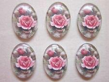 6 un. Vintage Rosa Rosa De Cristal Oval Cabuchones 18 X 25 Mm resultados Joyas