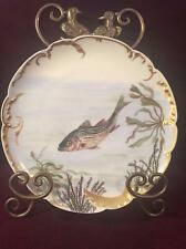 ANTIQUE HAVILAND & CO. LIMOGES HAND PAINTED SCALLOPED STRIPED BASS PLATE