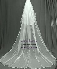 Cathedral Royal 2T Crystal Pearl Wedding Bridal Veil White Diamond Ivory Satin