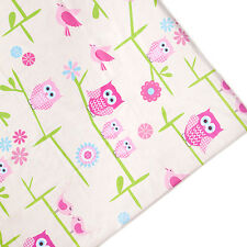 Owls Print Kids Arts Crafts Upholstery Fabric Polycotton Textile Material