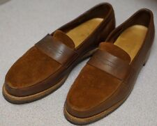 JOHN LOBB FINEDON UK 7.5 E US 8.5 LOPEZ SUEDE BROWN LEATHER CALFSKIN ENGLAND