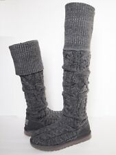 UGG AUSTRALIA Over the Knee TWISTED CABLE KNIT Boots WOMENS 7 GRAY Tall Classic