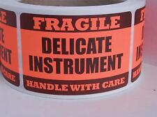 DELICATE INSTRUMENT FRAGILE HANDLE WITH CARE Warning Stickers Labels red fluor