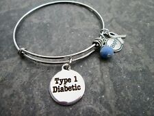 Type 1 Diabetic Medical Alert bangle bracelet with stainless steel bangle