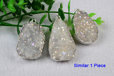 1Pcs Natural Agate Druzy Titanium AB Pendant Silver Plated Electroplated HS0062