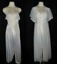 Vtg 70 80s White Flutter Sleeve Peignoir Negligee Nightgown Lingerie Robe Set S