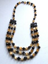 Unusual Vintage 50's West German 3 Strand Glass Bead Necklace