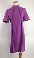 VINTAGE 1960s MOD Button Retro Dress Wiggle Mock Neck 60's - L - XL