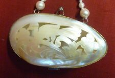 Antique / Vintage Mother of Pearl Pierced Shell Coin Purse Keepsake Holder