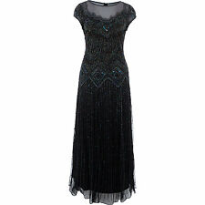 New Wedding UK10 or UK12 Occasion PISARRO NIGHTS Black Dress Beaded Maxi Gown