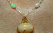 Genuine Fire Opal cabochon and nugget 8ctw necklace pendant solid 14k gold