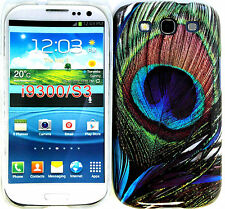 Cover Case Back Snap Samsung Galaxy S3 L710 I535 I747 T999 Peacock Feather