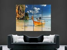 THAILAND FISHERMAN'S BOAT BEACH   WALL POSTER ART PICTURE PRINT LARGE  HUGE
