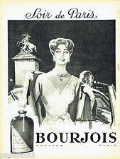 PUBLICITE ADVERTISING 106  1958  Bourjois parfum Soir de Paris