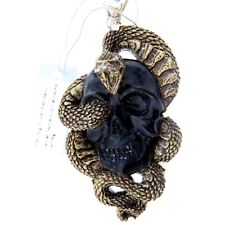 Hand Carved Metal/Clay Composite Snake w/ Tektite Skull - EC0012