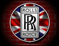 ROLLS ROYCE LED 600mm ILLUMINATED GARAGE WALL LIGHT CAR BADGE SIGN LOGO MAN CAVE