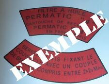 Decalcomanie decal couvercle filtre a huile hotchkiss m201 6/12v jeep willys