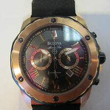 BULOVA MARINE STAR MEN'S WATCH CHRONO RUBBER ROSE GOLD SPORTS ORIGINAL 98B104