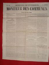 JOURNAL LE MONITEUR DES COMMUNES MINISTERE DE L'INTERIEUR N°12 - 24 MARS 1865