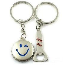 FD897 Cute Smile Capsule Opener Lover Keychain Keyring Keyfob Gift 1 Pair 2pc :)