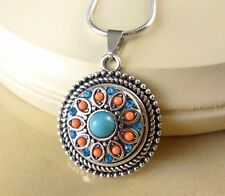 TURQUOISE SNAP BUTTON ROPE PENDANT W/ steel NECKLACE family gift jewelry