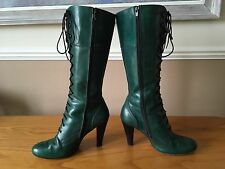 Ladies Faith Solo green leather Victorian lace up boots UK 5 EU 38 Goth fetish
