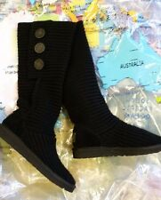 UGG KNEE-HIGH TWISTED CABLE TALL BOOTS BLACK SUPER CUTE SIZE 7 US