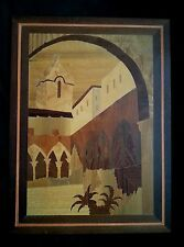 "Vintage wood inlay picture of old church mission 15.5"" by 11.5"""