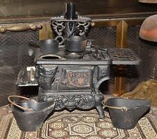 Vtg Antique Miniature Cast Iron Toy Cook Stove & Accessories Salesman Sample