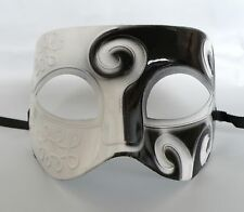 Greek / Roman Mens Masquerade Face Mask - White & Black - NEW