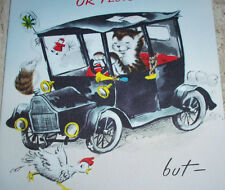 Vintage BIRTHDAY Greeting Card - NORCROSS - Cool Cat Driving Car Crashes