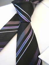 JOHN CURTIS BLACK PURPLE STRIPED 3.75 INCH POLYESTER MANS NECK TIE