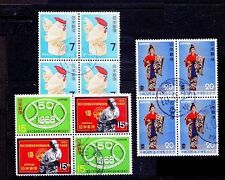 Japan Fine Used Blk of 4s, Rooster, Sports -S11