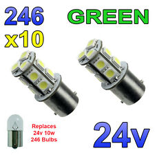 10 x Green 24v LED BA15s 246 R10W 13 SMD Number Plate Interior Bulbs HGV Truck