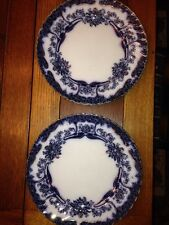 "Pountney's Bristol Flow Blue Milton Pattern 10 1/4"" Dinner Plates Set Of 2"