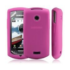 housse silicone pour Samsung S5620 Player Star2 couleur rose fushia + film prote