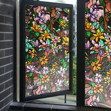 Magnolia Window Film Vinyl Static Privacy Stained Glass Decor Cling Films Floral