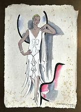 Annie Offterdinger Modezeichnung Fashion Illustration 30x42cm 1928 Art Deco 20er