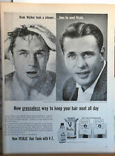 1958 magazine ad for Vitalis - NFL Detroit Lions Star Doak Walker uses Vitalis